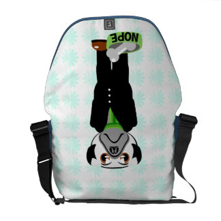 Cute, Stubborn Pug with Flower Pattern Messenger Bags