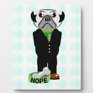 Cute, Stubborn Pug with Flower Pattern Plaque