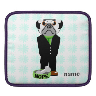 Cute, Stubborn Pug with Flower Pattern Sleeve For iPads