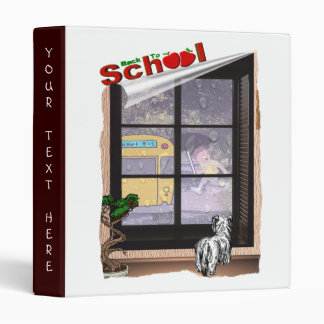 Cute Student Running To Catch School Bus #2 Binder