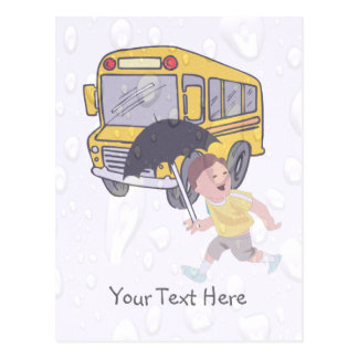 Cute Student Running To Catch School Bus Postcard