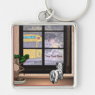 Cute Student Running To Catch School Bus Silver-Colored Square Keychain