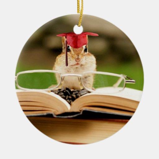 Cute Studying Chipmunk Graduate Ornament