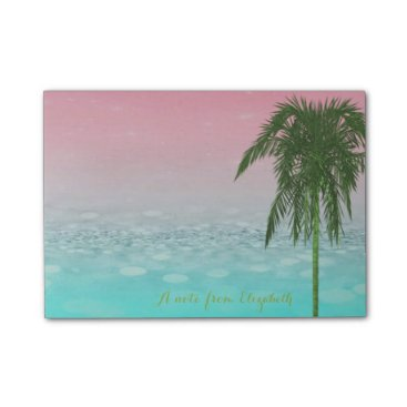 Cute Stylish BokehTropical, Palm Tree,Personalized Post-it Notes