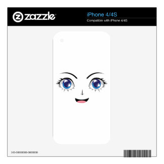 Cute Stylized Faces female Skin For The iPhone 4