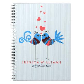 Cute Stylized Love Birds Illustration 2 Spiral Notebook