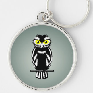 Cute Stylized Owl Silver-Colored Round Keychain
