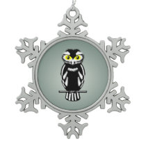 Cute Stylized Owl Snowflake Pewter Christmas Ornament