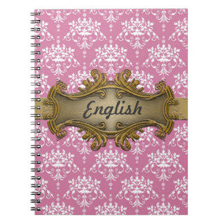 Cute Subject Notebook Pink and White Damask