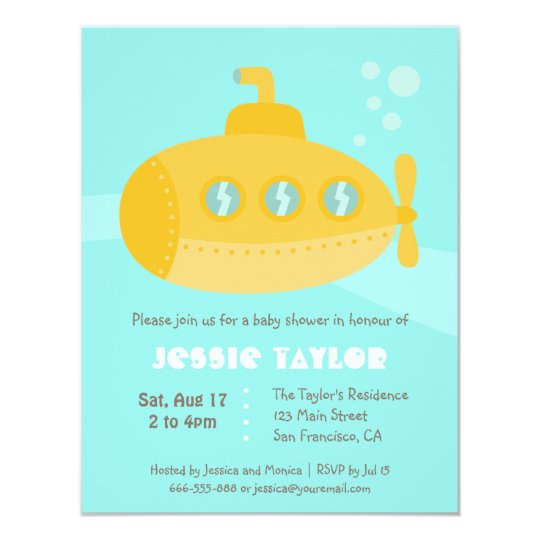 Cute submarine underwater baby shower invitations zazzle cute submarine underwater baby shower invitations filmwisefo