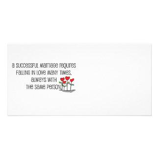 "Cute, ""Successful Marriage"" quote Custom Photo Card"