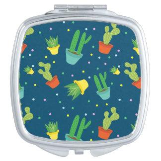 Cute succulent cactus polka dots pattern compact mirror