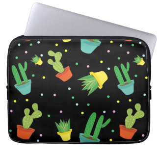 Cute succulent cactus polka dots pattern laptop sleeve