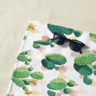 Cute Succulent Lovely Cactus Beach Towel