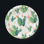 """Cute Succulent Lovely Cactus Paper Plates<br><div class=""""desc"""">A beautiful and cool seamless pattern featuring lovely green cactus leaves with pink flowers on a cute background. Add this colorful cute cactus design to your outdoor party beach theme decor. Get this cute trendy artistic hand drawn original unique design pattern for the tropical summer lover, nature lover and for...</div>"""