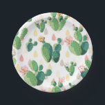"Cute Succulent Lovely Cactus Paper Plates<br><div class=""desc"">A beautiful and cool seamless pattern featuring lovely green cactus leaves with pink flowers on a cute background. Add this colorful cute cactus design to your outdoor party beach theme decor. Get this cute trendy artistic hand drawn original unique design pattern for the tropical summer lover, nature lover and for...</div>"