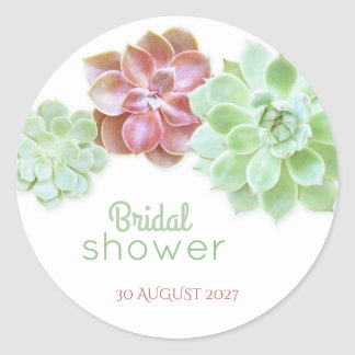 Cute Succulents Botanical Bridal Shower Classic Round Sticker