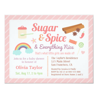 Cute Sugar and Spice Baby Girl Shower Card
