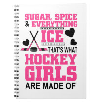 cute sugar and spice ice hockey girls notebook