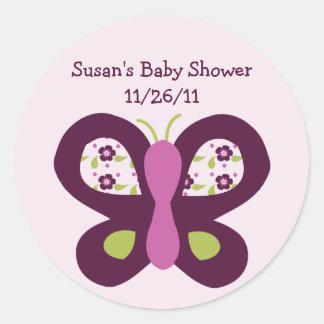 Cute Sugar Plum Butterfly Stickers/Envelope Seals Classic Round Sticker
