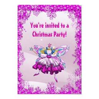 Cute Sugar Plum Fairy & Sequins Christmas Party Personalized Invites