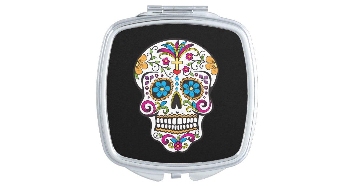 Cute Sugar Skull Happy Day Of The Dead, Sugar Skull Compact Mirror
