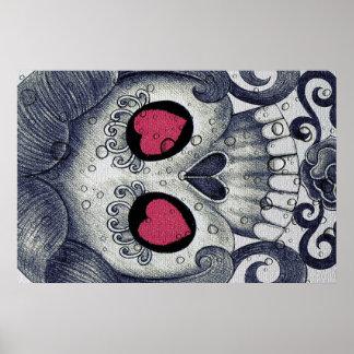 Cute Sugar Skull & Heart Poster