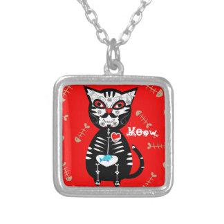 Cute Sugar Skull Pussy Cat Square Pendant Necklace
