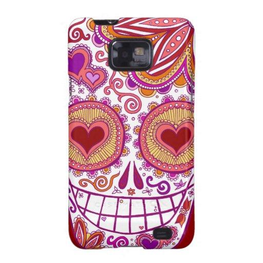 Cute Sugar Skull Samsung Galaxy S2 Case Heart Eyes