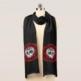 Cute sugar skull with red accents scarf