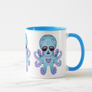 Cute Sugar Skull Zombie Octopus - Blue Mug