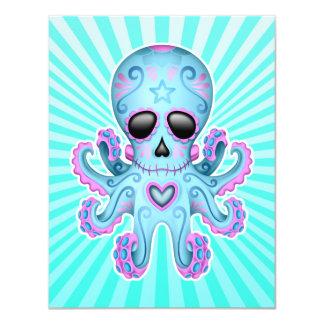 Cute Sugar Skull Zombie Octopus - Blue Pink Card