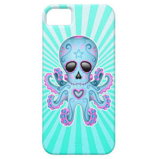 Cute Sugar Skull Zombie Octopus - Blue Pink iPhone 5 Cases
