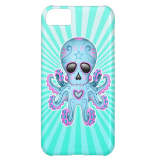 Cute Sugar Skull Zombie Octopus - Blue Pink iPhone 5C Covers