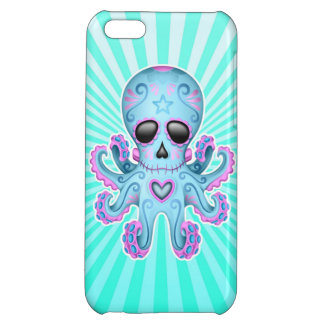 Cute Sugar Skull Zombie Octopus - Blue Pink Case For iPhone 5C