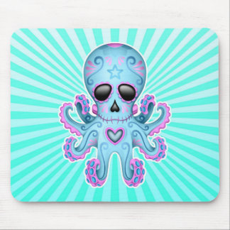 Cute Sugar Skull Zombie Octopus - Blue Pink Mouse Pad