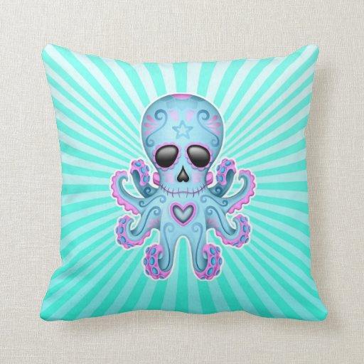 Cute Sugar Skull Zombie Octopus - Blue Pink Throw Pillow