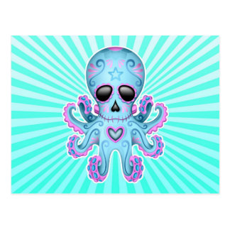 Cute Sugar Skull Zombie Octopus - Blue Pink Postcard
