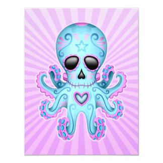 Cute Sugar Skull Zombie Octopus - Blue Purple Card