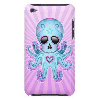 Cute Sugar Skull Zombie Octopus - Blue Purple Barely There iPod Cases