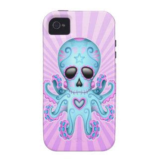 Cute Sugar Skull Zombie Octopus - Blue Purple iPhone 4 Cover