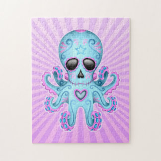 Cute Sugar Skull Zombie Octopus - Blue Purple Jigsaw Puzzle