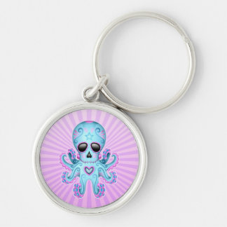 Cute Sugar Skull Zombie Octopus - Blue Purple Key Chains