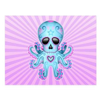 Cute Sugar Skull Zombie Octopus - Blue Purple Postcard