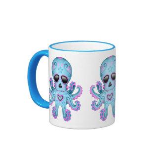 Cute Sugar Skull Zombie Octopus - Blue Ringer Mug