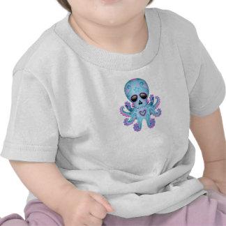 Cute Sugar Skull Zombie Octopus - Blue Tee Shirt