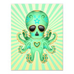 Cute Sugar Skull Zombie Octopus - Green Card
