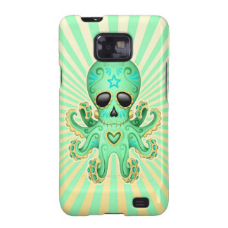 Cute Sugar Skull Zombie Octopus - Green Galaxy SII Cover