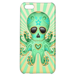 Cute Sugar Skull Zombie Octopus - Green Case For iPhone 5C