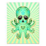 Cute Sugar Skull Zombie Octopus - Green Custom Invite